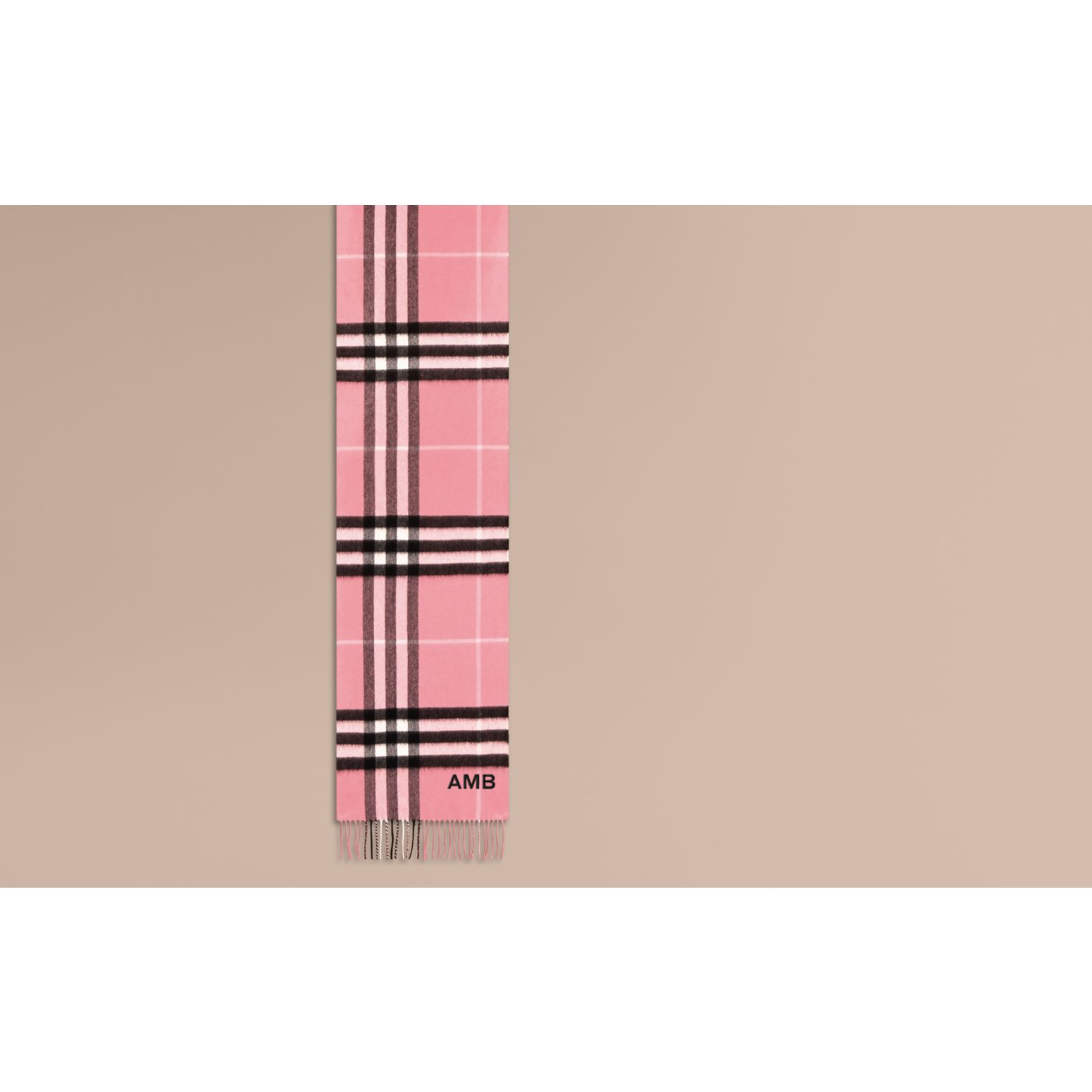 The Classic Cashmere Scarf in Check  Rose Pink - gallery image 2