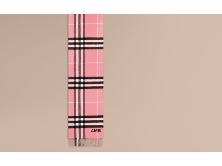 The Classic Cashmere Scarf in Check  Rose Pink - cell image 1