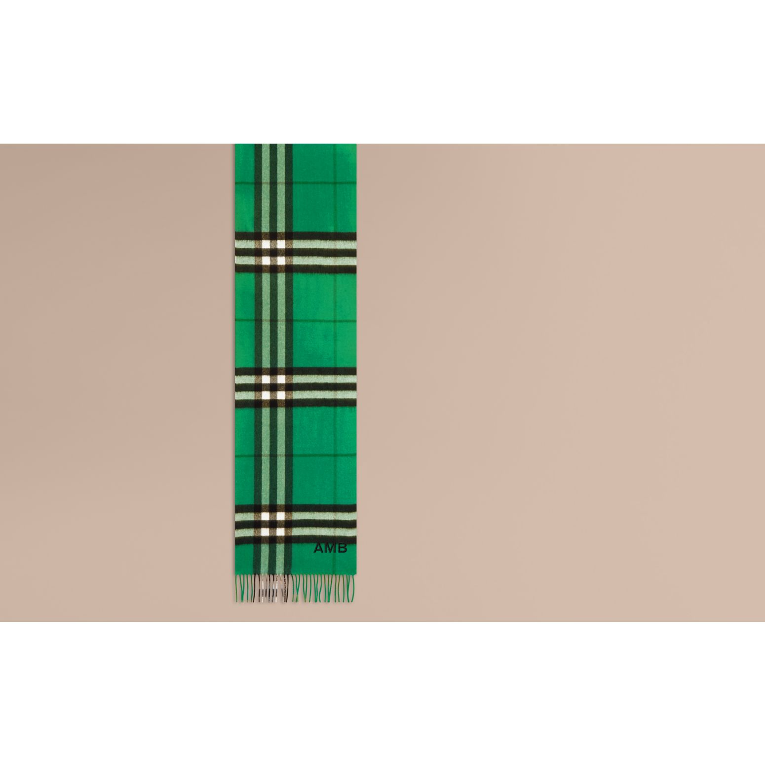 The Classic Cashmere Scarf in Check  Emerald - gallery image 2