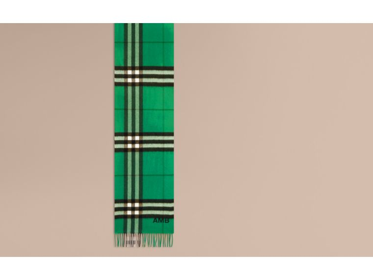 The Classic Cashmere Scarf in Check  Emerald - cell image 1