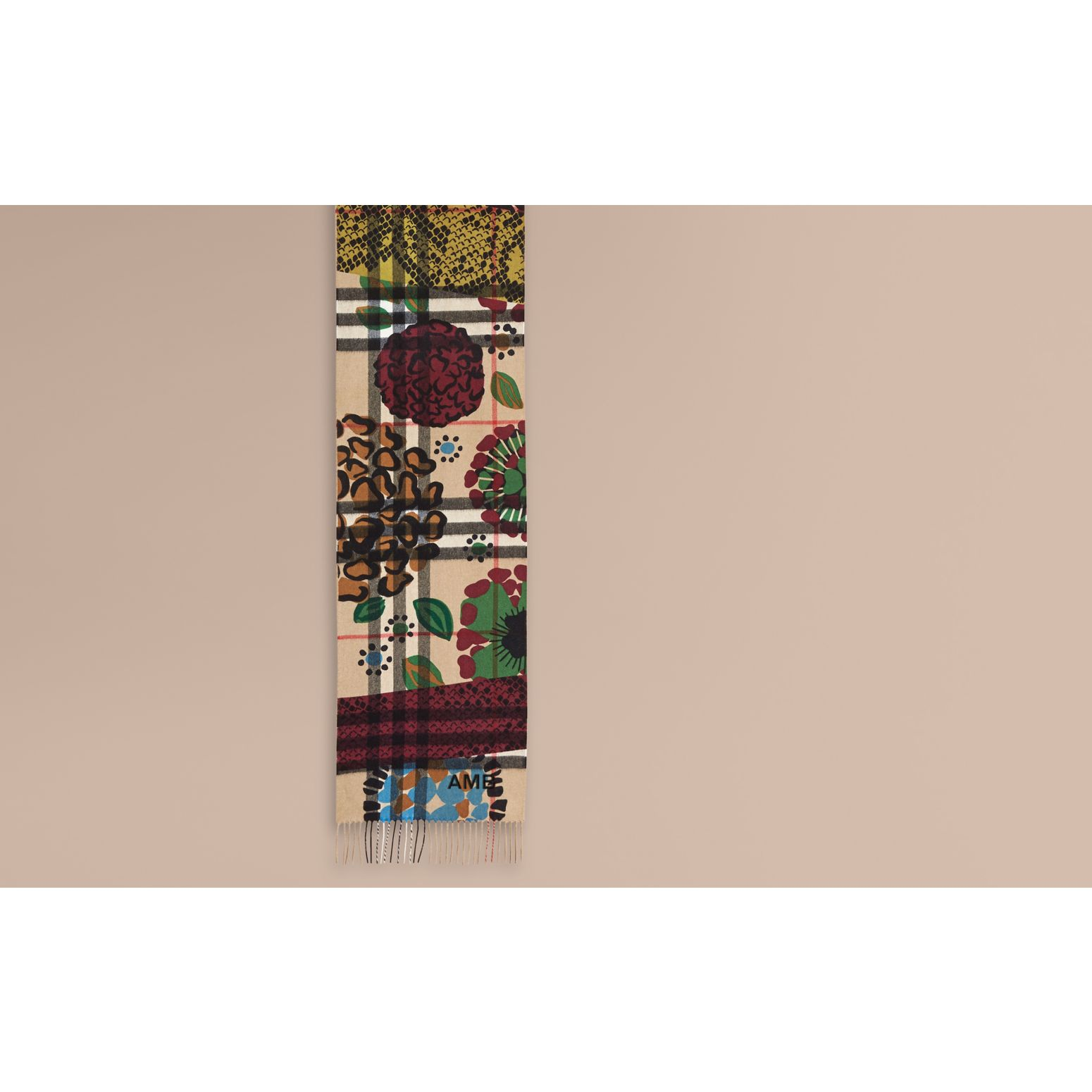 Multicolour The Classic Cashmere Scarf in Check with Patchwork Print - gallery image 2