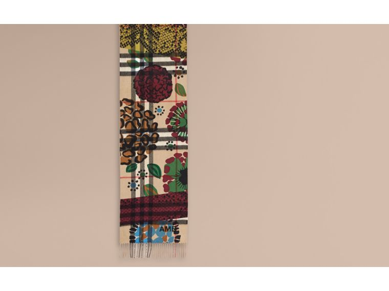 Multicolour The Classic Cashmere Scarf in Check with Patchwork Print - cell image 1