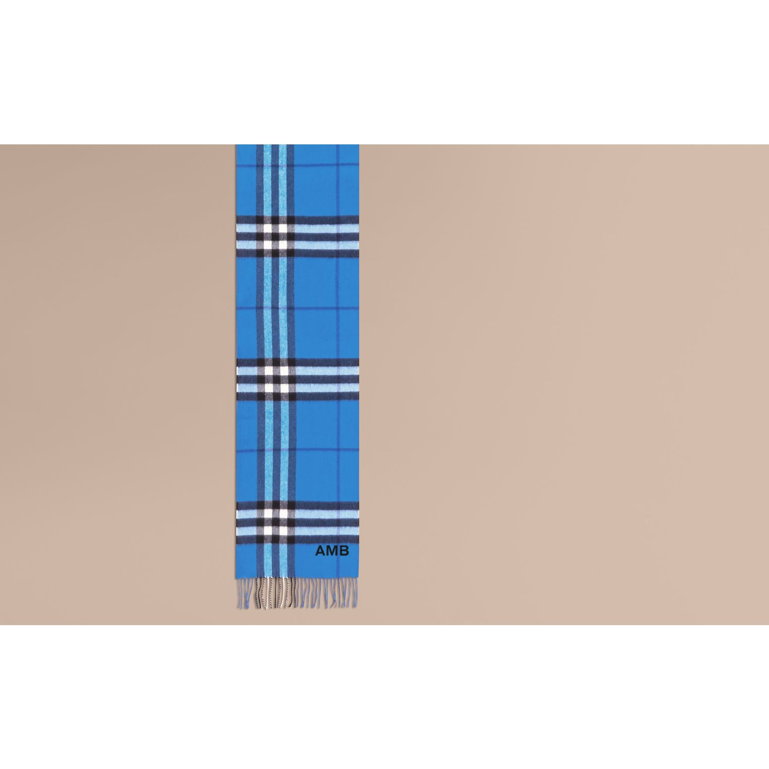 The Classic Cashmere Scarf in Check  Bright Cornflower Blue - gallery image 2