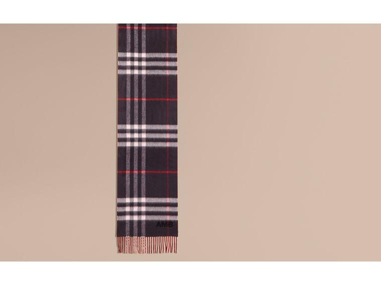 Reversible Check Cashmere and Block-colour Scarf in Navy - cell image 1