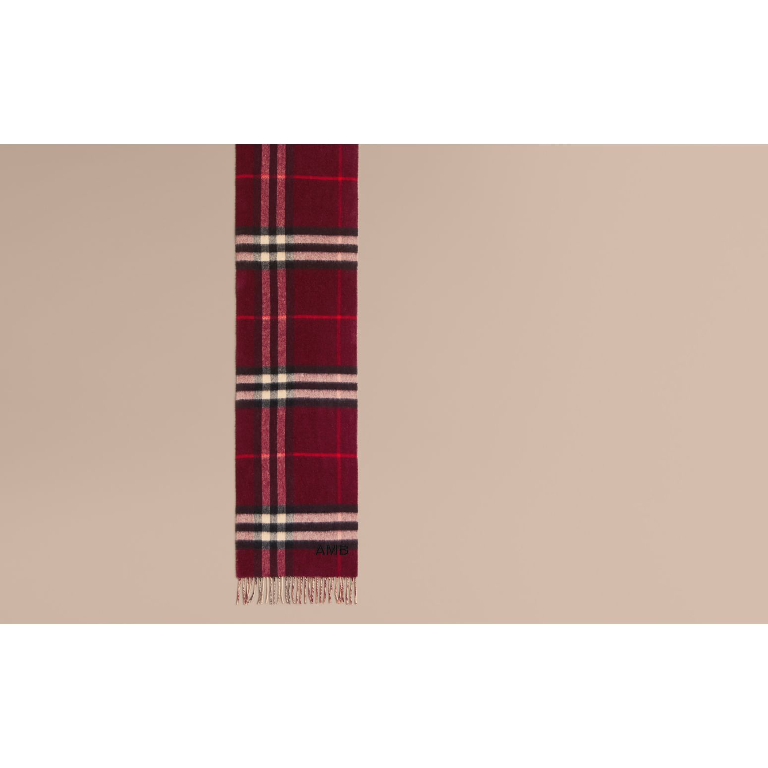 Reversible Check Cashmere and Block-colour Scarf in Claret - gallery image 2