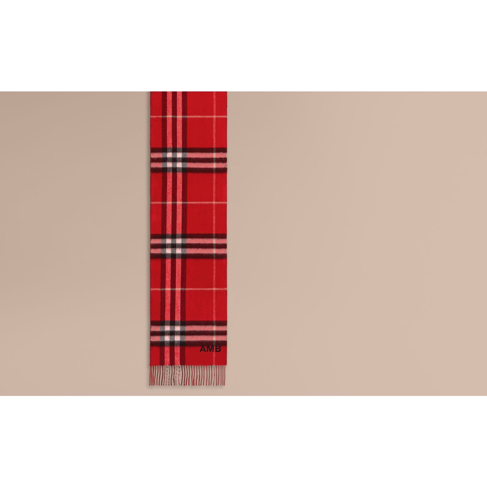 Reversible Metallic Check Cashmere Scarf in Parade Red - gallery image 2