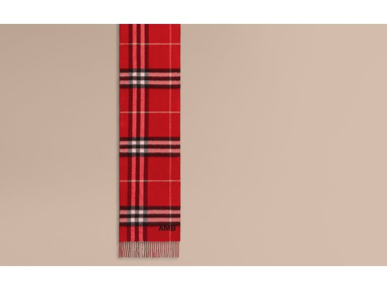 Reversible Metallic Check Cashmere Scarf in Parade Red - cell image 1