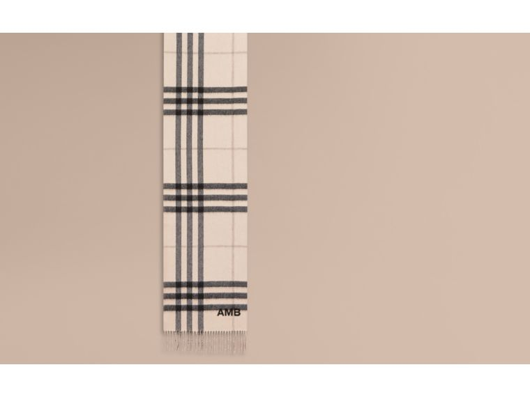 Reversible Metallic Check Cashmere Scarf in Natural White - cell image 1