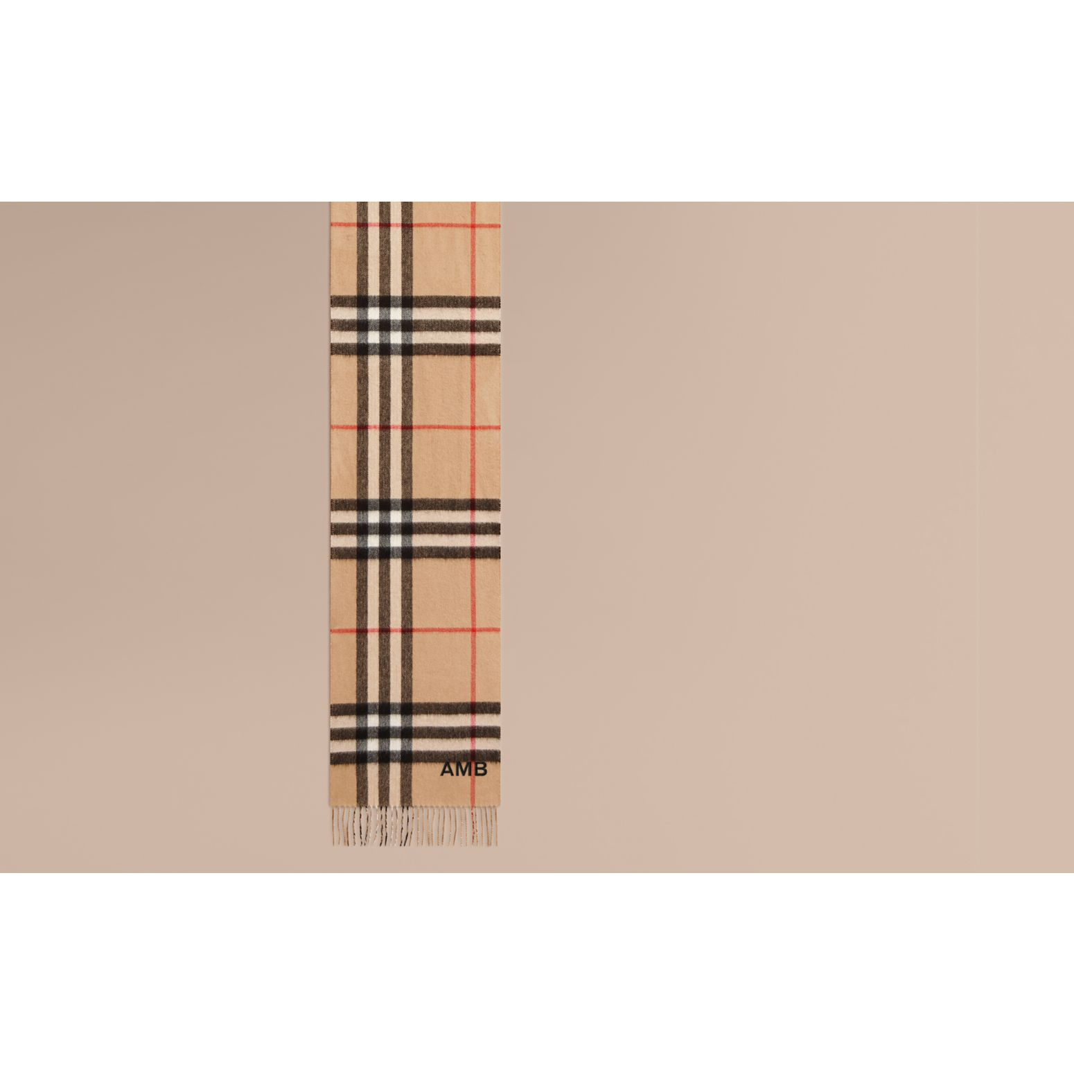 Reversible Metallic Check Cashmere Scarf in Camel | Burberry United States - gallery image 1