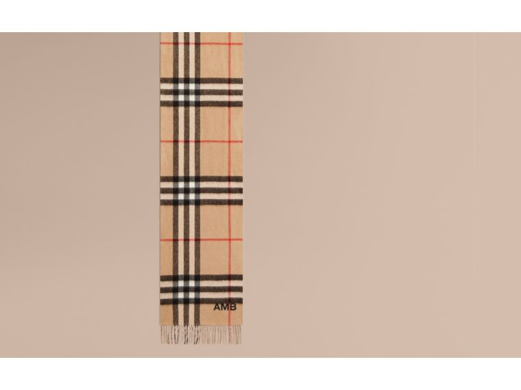 Reversible Metallic Check Cashmere Scarf in Camel | Burberry - cell image 1
