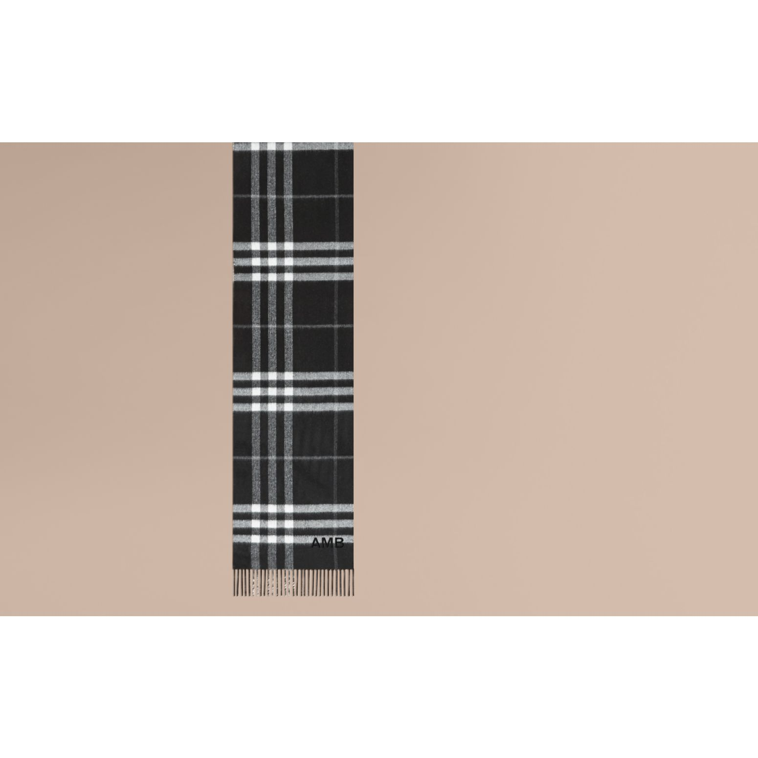 Reversible Metallic Check Cashmere Scarf Black - gallery image 2