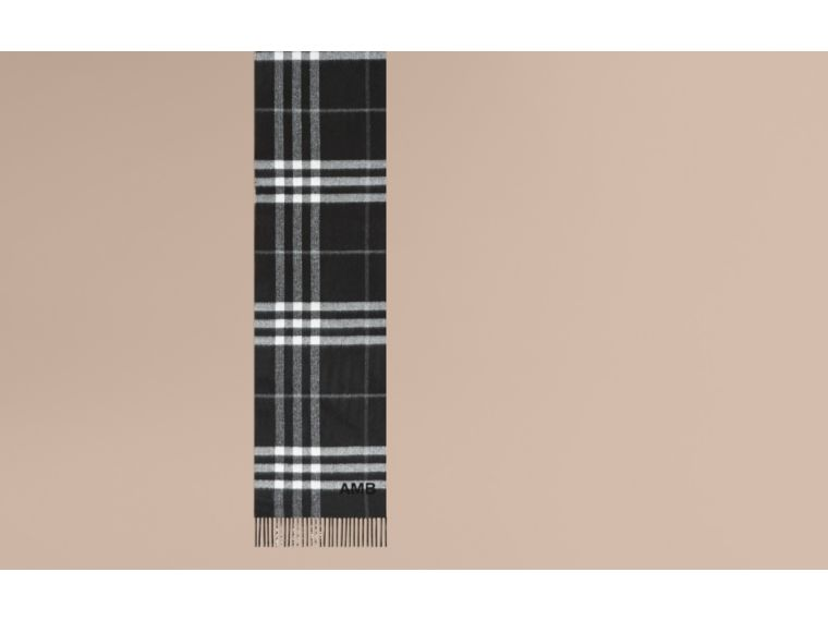 Reversible Metallic Check Cashmere Scarf in Black | Burberry - cell image 1