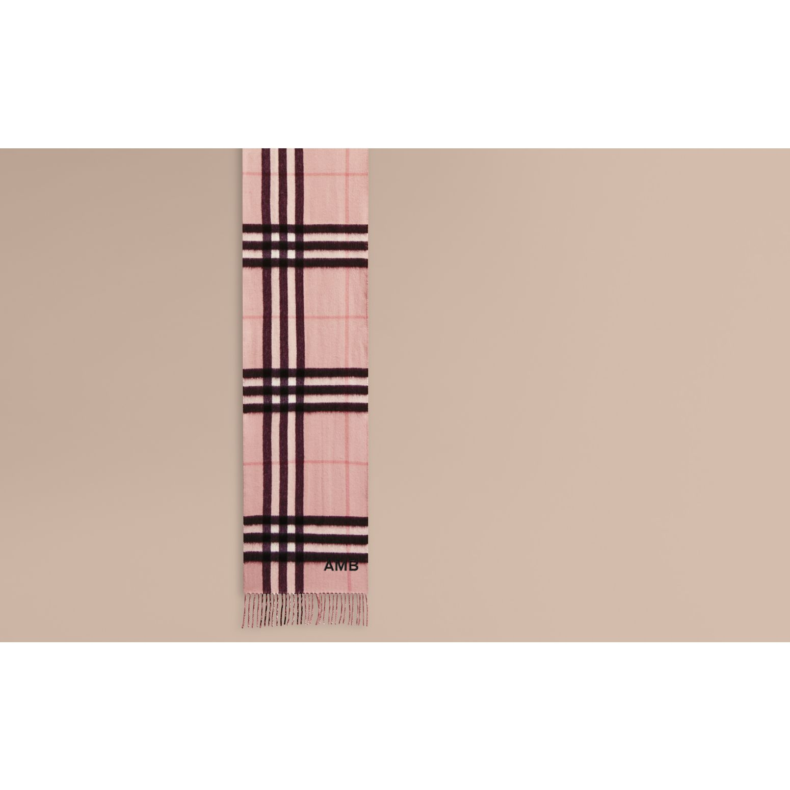 Reversible Metallic Check Cashmere Scarf Rose - gallery image 2
