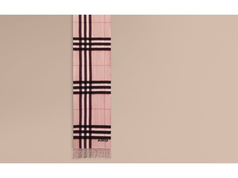 Reversible Metallic Check Cashmere Scarf in Ash Rose - cell image 1