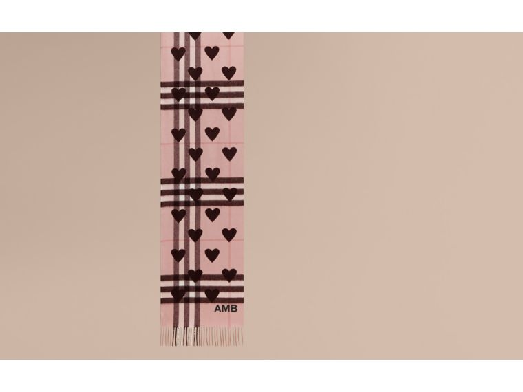 Ash rose/black The Classic Cashmere Scarf in Check and Hearts - cell image 1