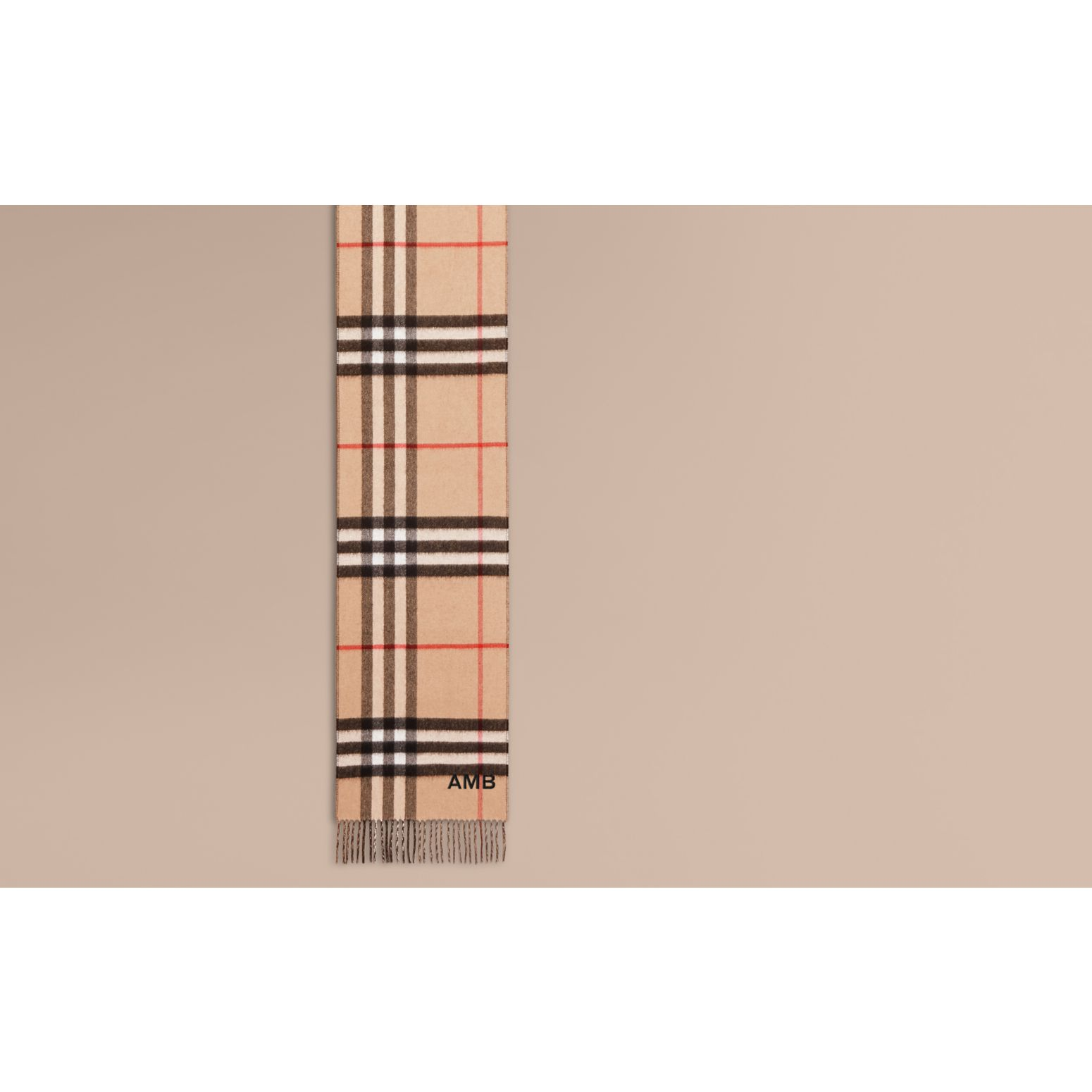Reversible Check Cashmere and Block-colour Scarf in Camel/charcoal - gallery image 2