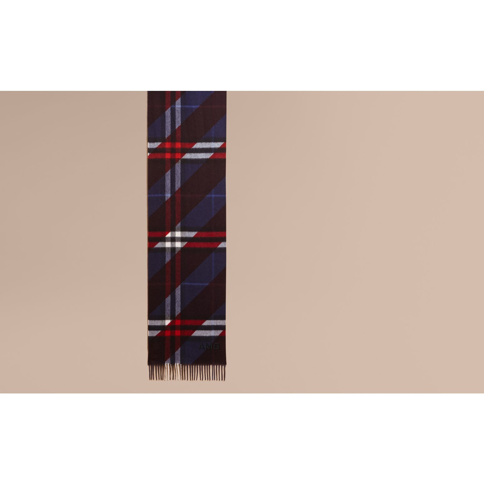 The Classic Cashmere Scarf in Check with Stripe Print - gallery image 2