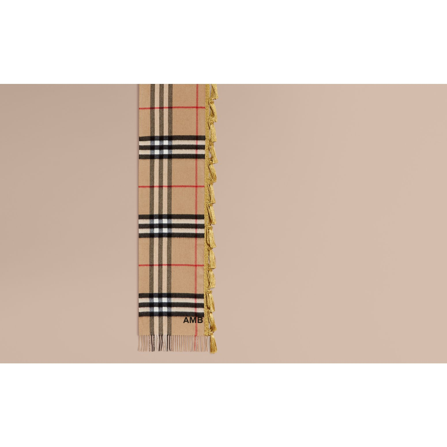 Camel The Classic Cashmere Scarf in Check with tassels - gallery image 2