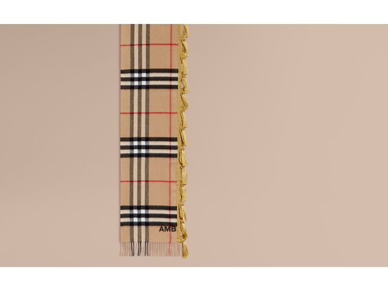 Camel The Classic Cashmere Scarf in Check with tassels - cell image 1