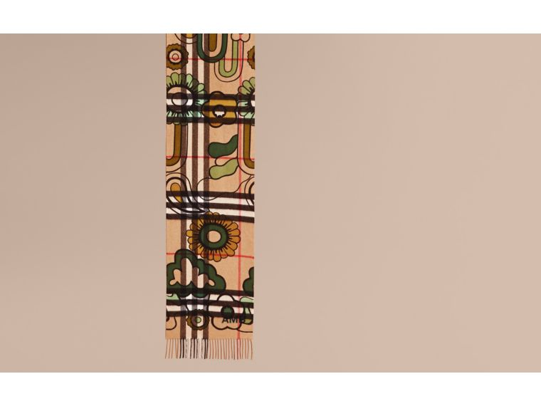 Floral Pop Print and Check Cashmere Scarf Camel/yellow Olive - cell image 1