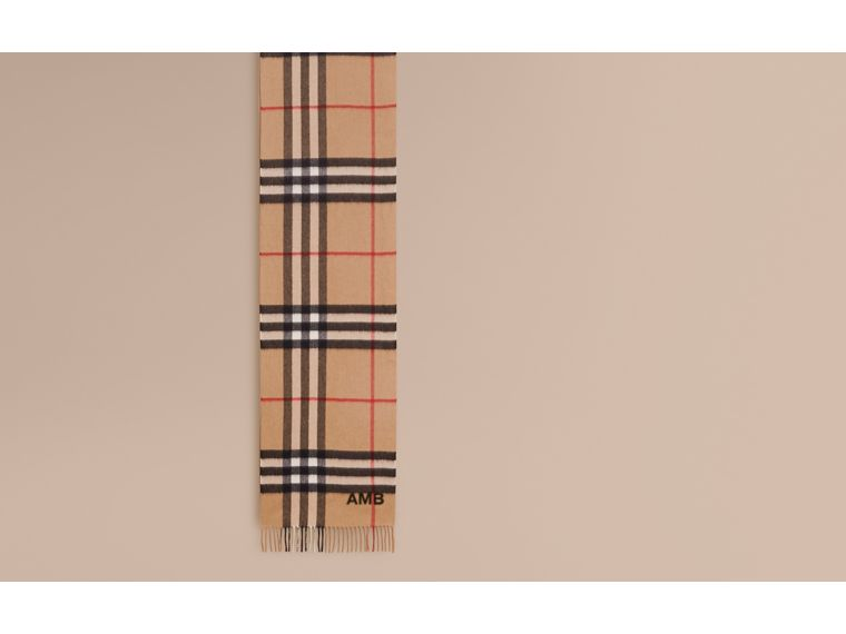 The Classic Cashmere Scarf with Burberry Beasts Motif in Camel | Burberry Australia - cell image 1