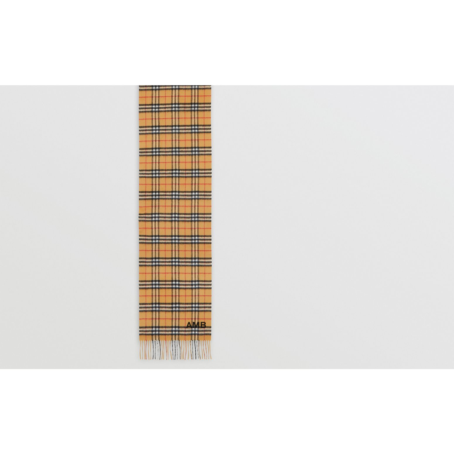 The Classic Vintage Check Cashmere Scarf in Antique Yellow | Burberry United Kingdom - gallery image 1