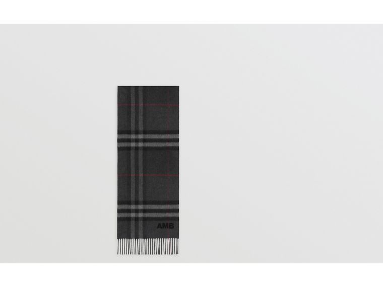 The Classic Check Cashmere Scarf in Charcoal | Burberry United Kingdom - cell image 1