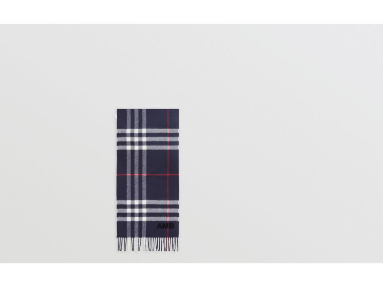 The Classic Check Cashmere Scarf in Navy | Burberry Singapore - cell image 1