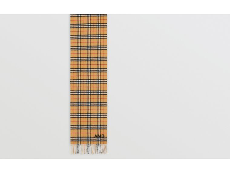 The Classic Vintage Check Cashmere Scarf in Antique Yellow | Burberry Singapore - cell image 1
