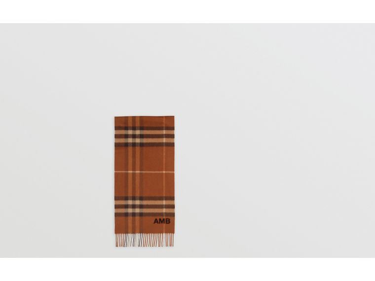 The Classic Check Cashmere Scarf in Chestnut | Burberry Canada - cell image 1