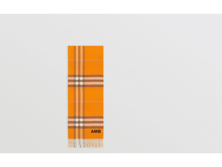 The Classic Check Cashmere Scarf in Orange | Burberry United States - cell image 1