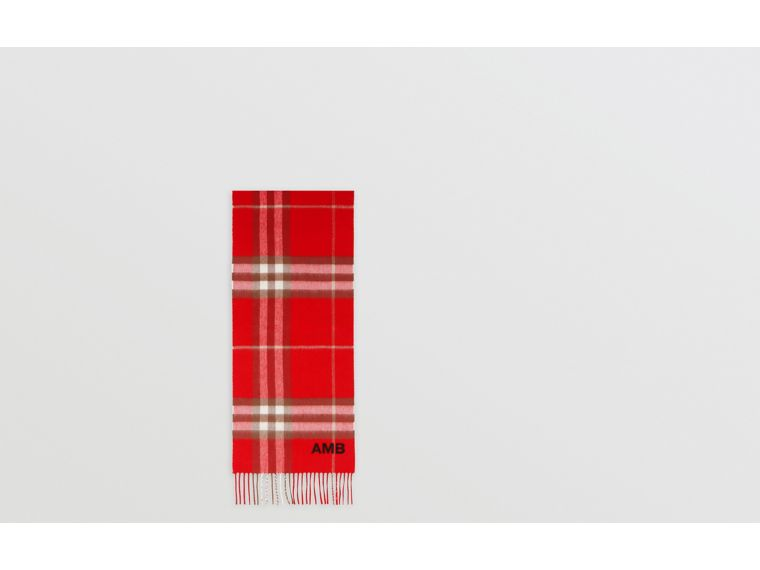 The Classic Check Cashmere Scarf in Red | Burberry - cell image 1