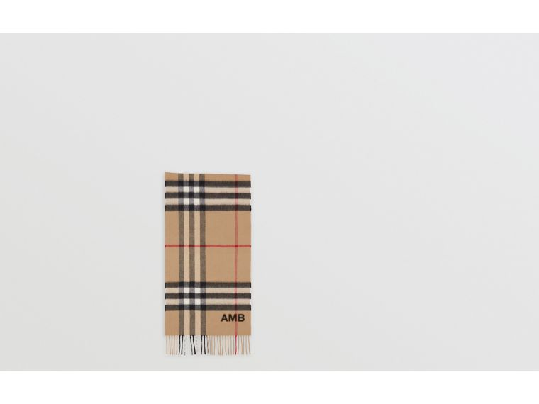 The Classic Check Cashmere Scarf in Archive Beige | Burberry - cell image 1