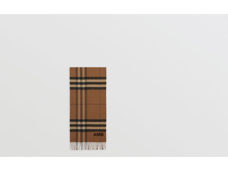 The Classic Check Cashmere Scarf in Bridle Brown | Burberry United States - cell image 1