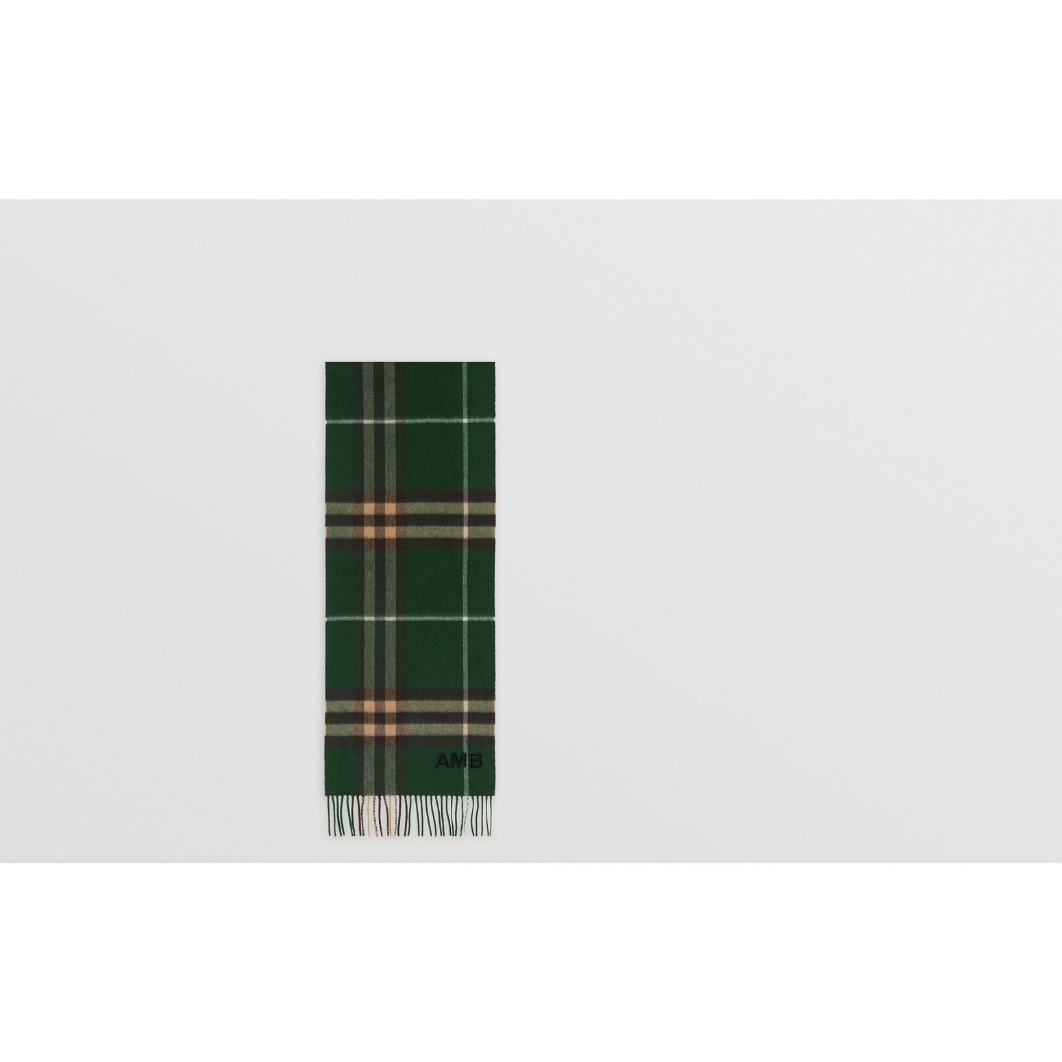 The Classic Check Cashmere Scarf in Dark Pine Green | Burberry United Kingdom - gallery image 1