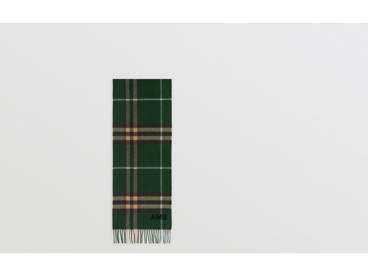 The Classic Check Cashmere Scarf in Dark Pine Green | Burberry United Kingdom - cell image 1