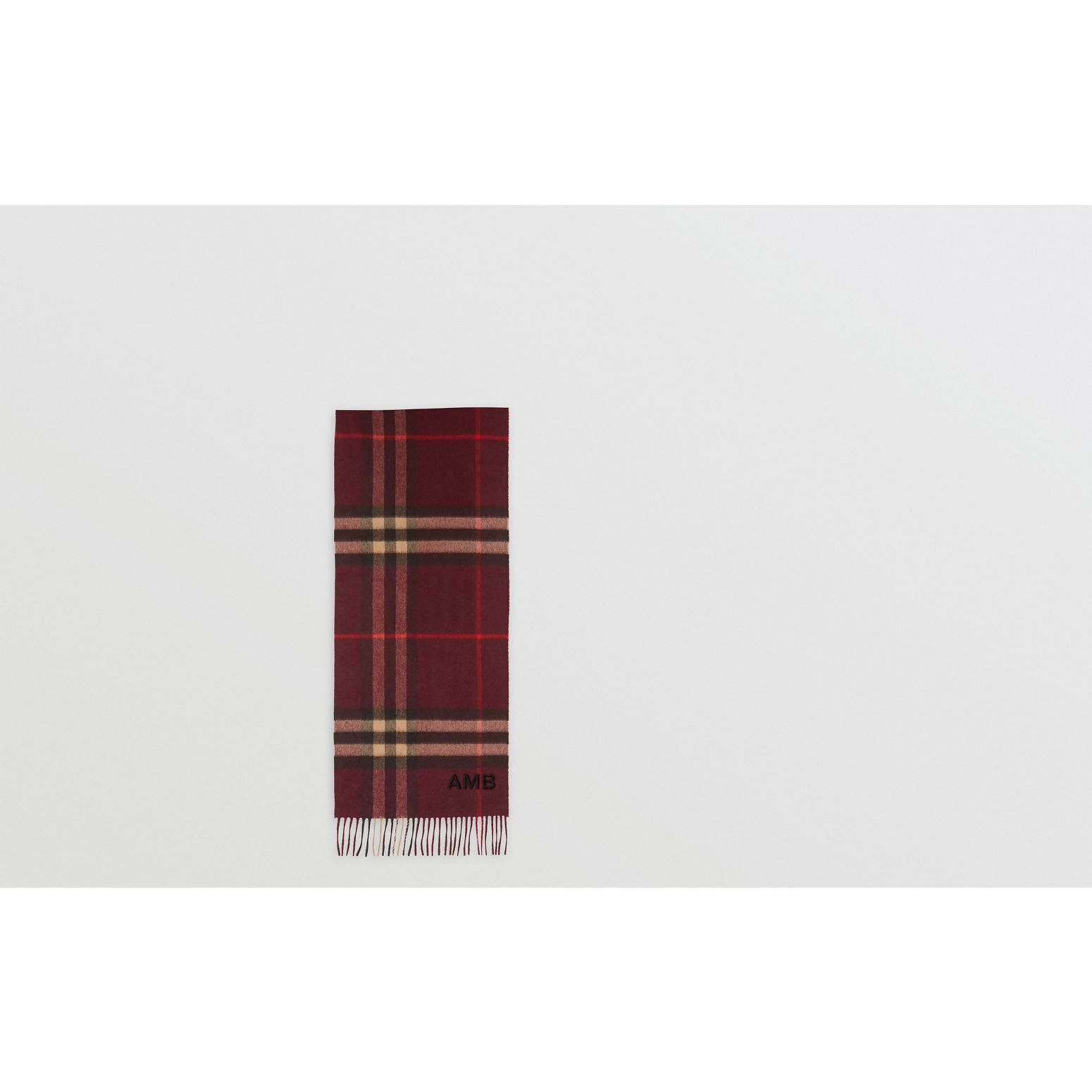 The Classic Check Cashmere Scarf in Burgundy | Burberry United Kingdom - gallery image 1