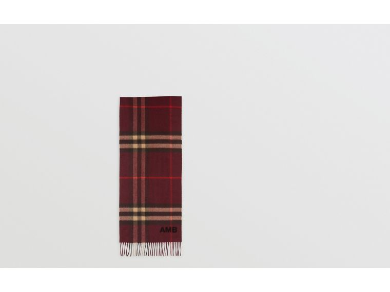 The Classic Check Cashmere Scarf in Burgundy | Burberry - cell image 1