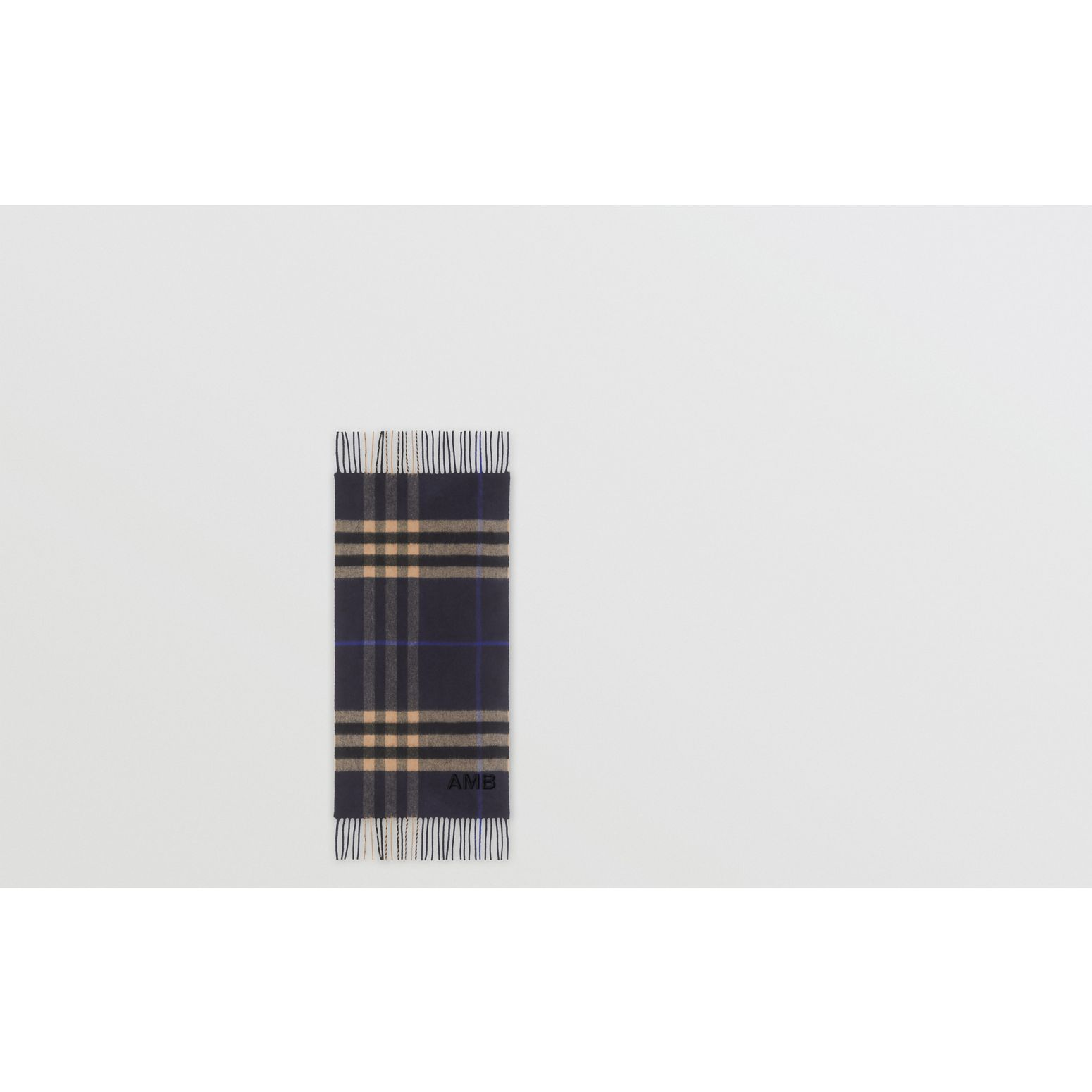 The Classic Check Cashmere Scarf in Indigo/mid Camel | Burberry - gallery image 1