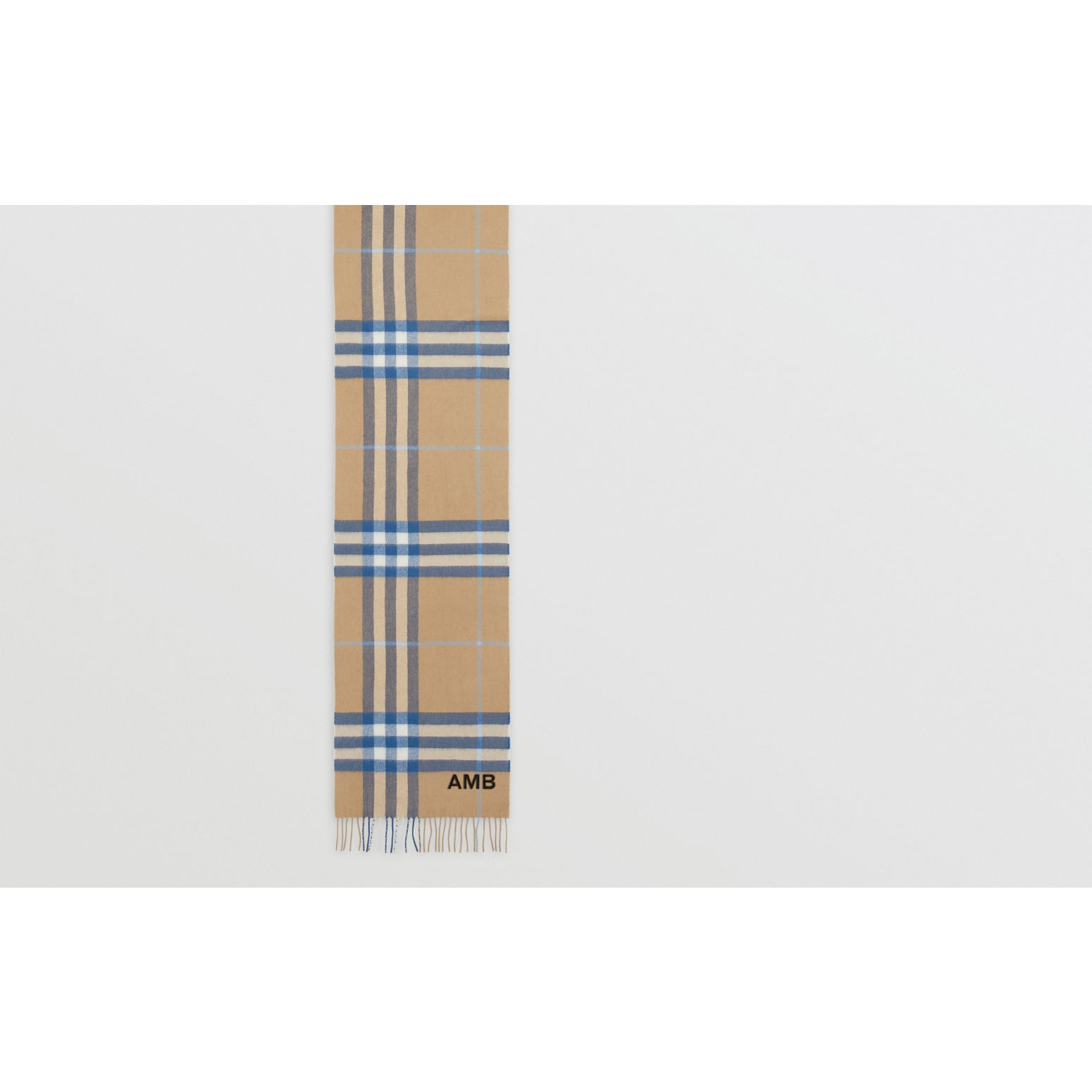 The Classic Check Cashmere Scarf in Arc Beige/inky Blue | Burberry United States - gallery image 1