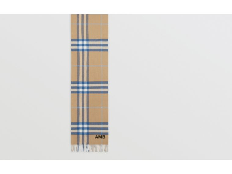 The Classic Check Cashmere Scarf in Arc Beige/inky Blue | Burberry Canada - cell image 1
