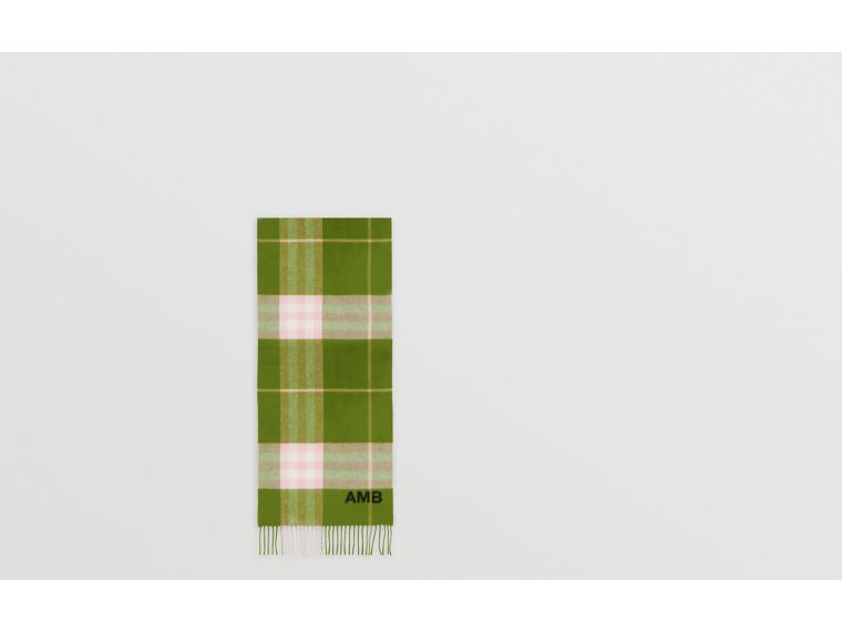 The Classic Check Cashmere Scarf in Cedar Green | Burberry United States - cell image 1