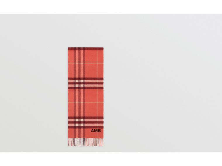 The Classic Check Cashmere Scarf in Clay Sienna | Burberry - cell image 1