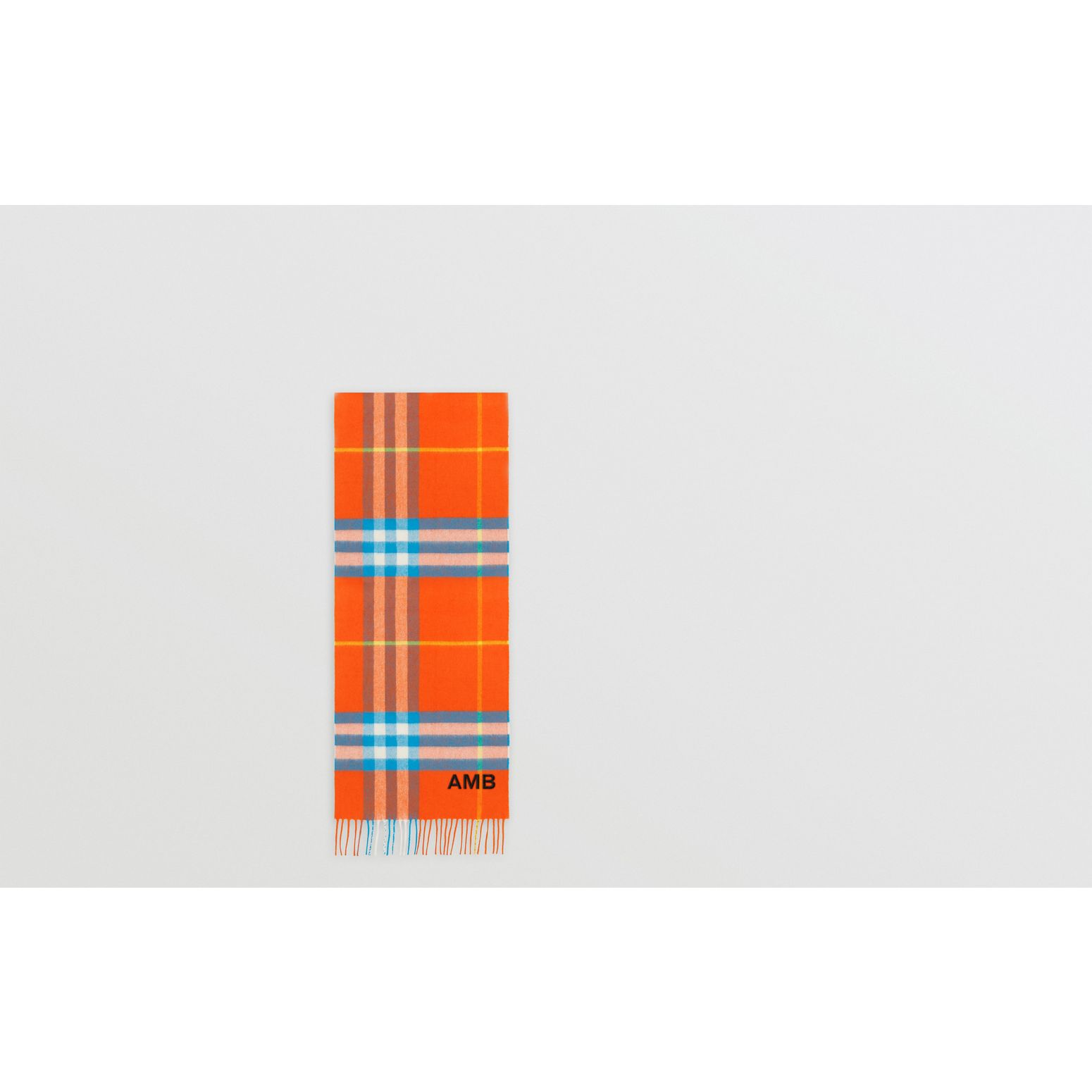The Classic Check Cashmere Scarf in Bright Vermillion | Burberry United States - gallery image 1
