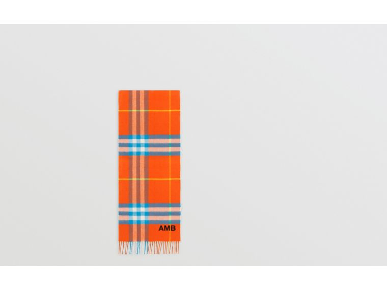 The Classic Check Cashmere Scarf in Bright Vermillion | Burberry United States - cell image 1