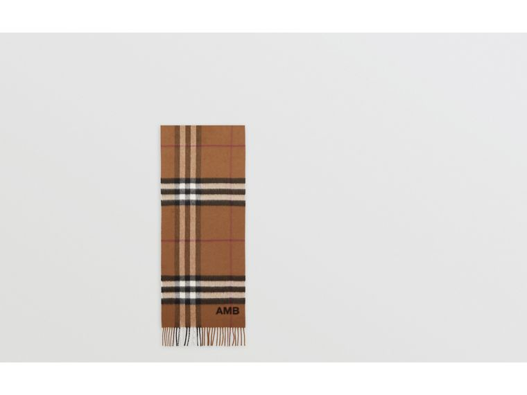 The Classic Check Cashmere Scarf in Birch Brown | Burberry United Kingdom - cell image 1