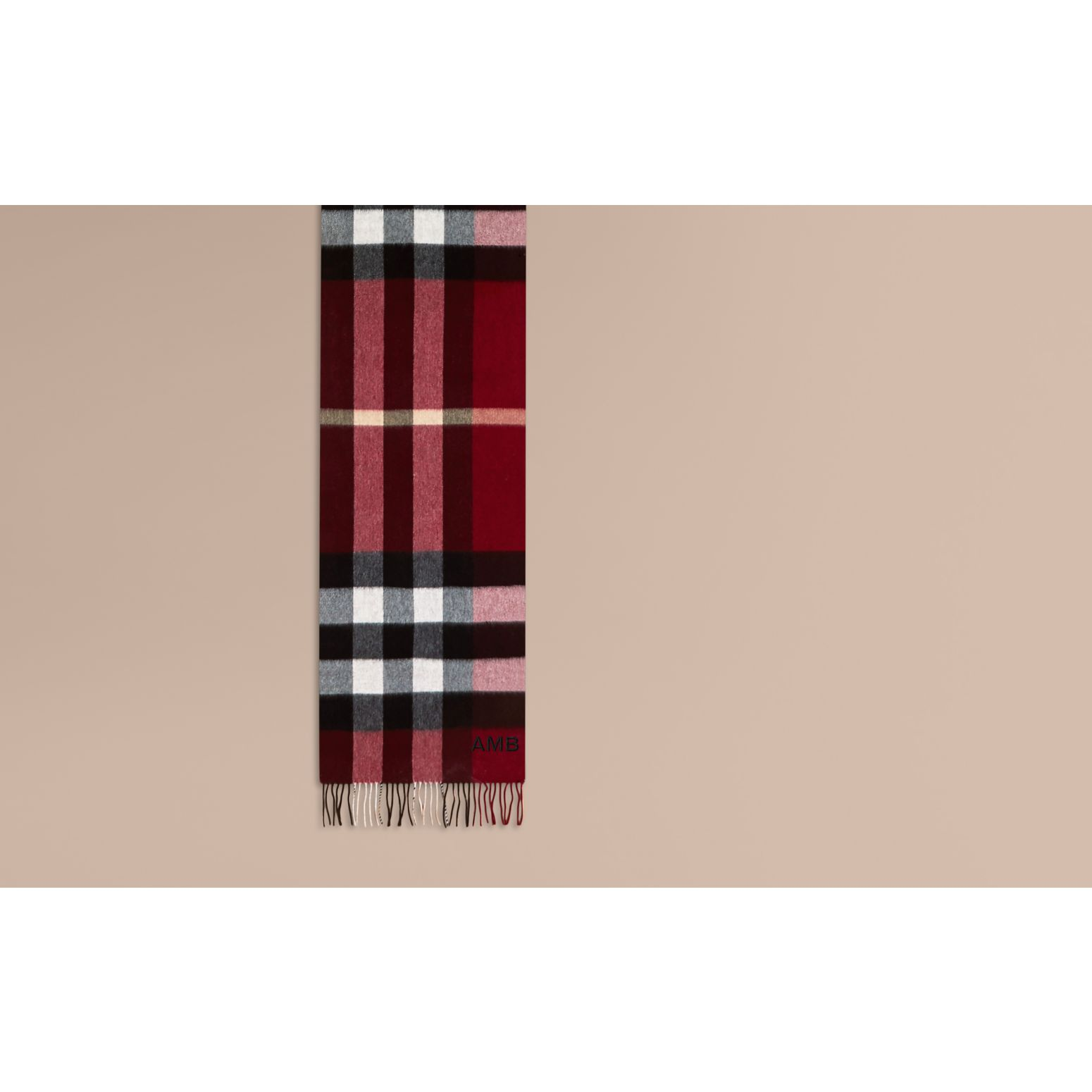 The Large Classic Cashmere Scarf in Check in Parade Red | Burberry Australia - gallery image 2