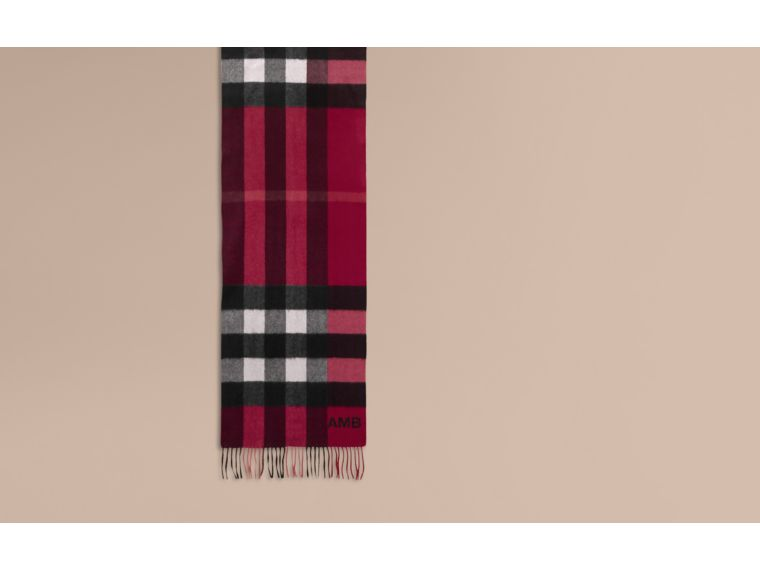 The Large Classic Cashmere Scarf in Check in Plum | Burberry Canada - cell image 1