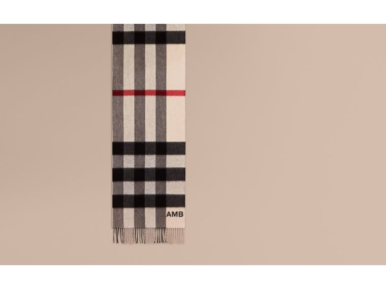 The Large Classic Cashmere Scarf in Check in Stone | Burberry Canada - cell image 1