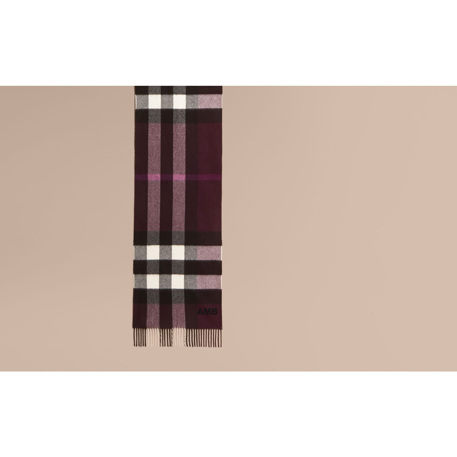 The Large Classic Cashmere Scarf in Check Aubergine - gallery image 2